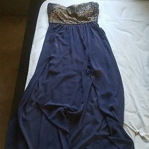 Floor length blue and gold dress